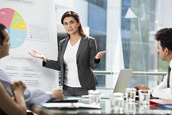 HR specialist presenta progetto di valutazione del potenziale